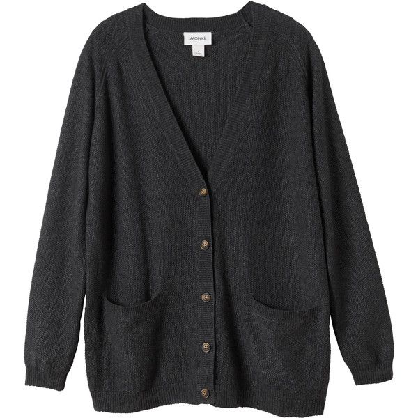Monki Martha cardigan (€35) ❤ liked on Polyvore featuring tops, cardigans, outerwear, jackets, stone soup, longline tops, long line cardigan, monki, longline cardigan and cardigan top