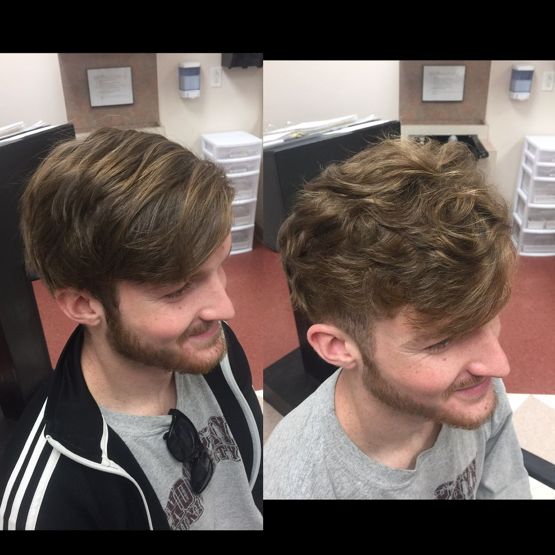Guys Can Get Perms Too James S Hair Was Pin Straight And Just Looked Weighed Down So I Gave Him A Perm To Give Men Perm Permed Hairstyles Wavy Hair Perm