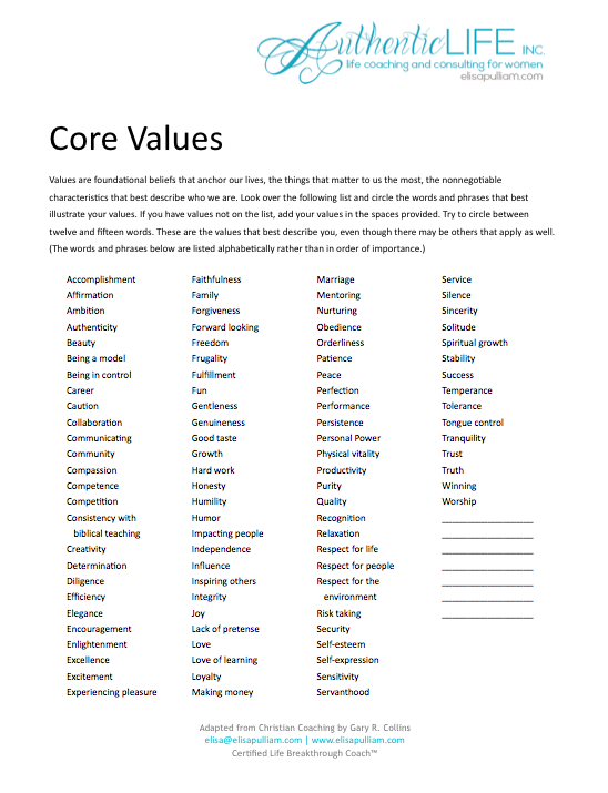 Understanding your core values helps in so many aspects of life – Life Coaching Worksheets