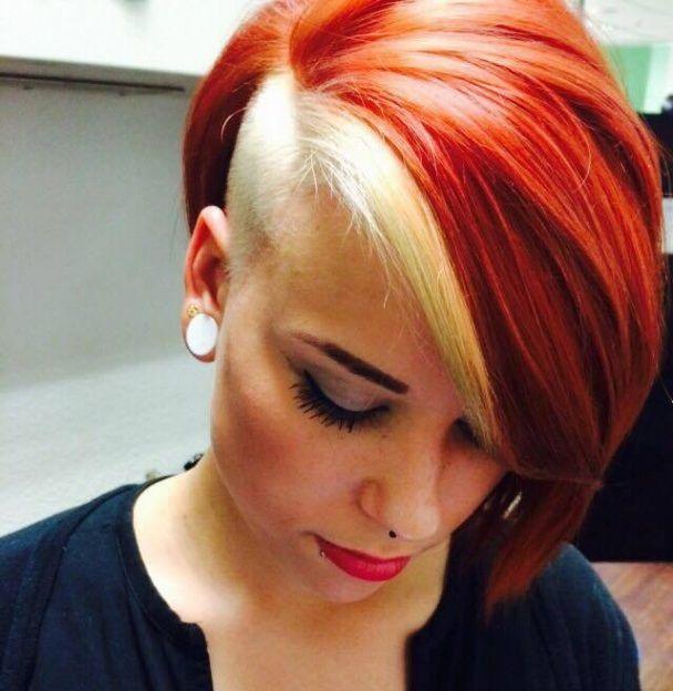 Red Blonde Undercut Shaved Sides Cabelo Curto Loiro