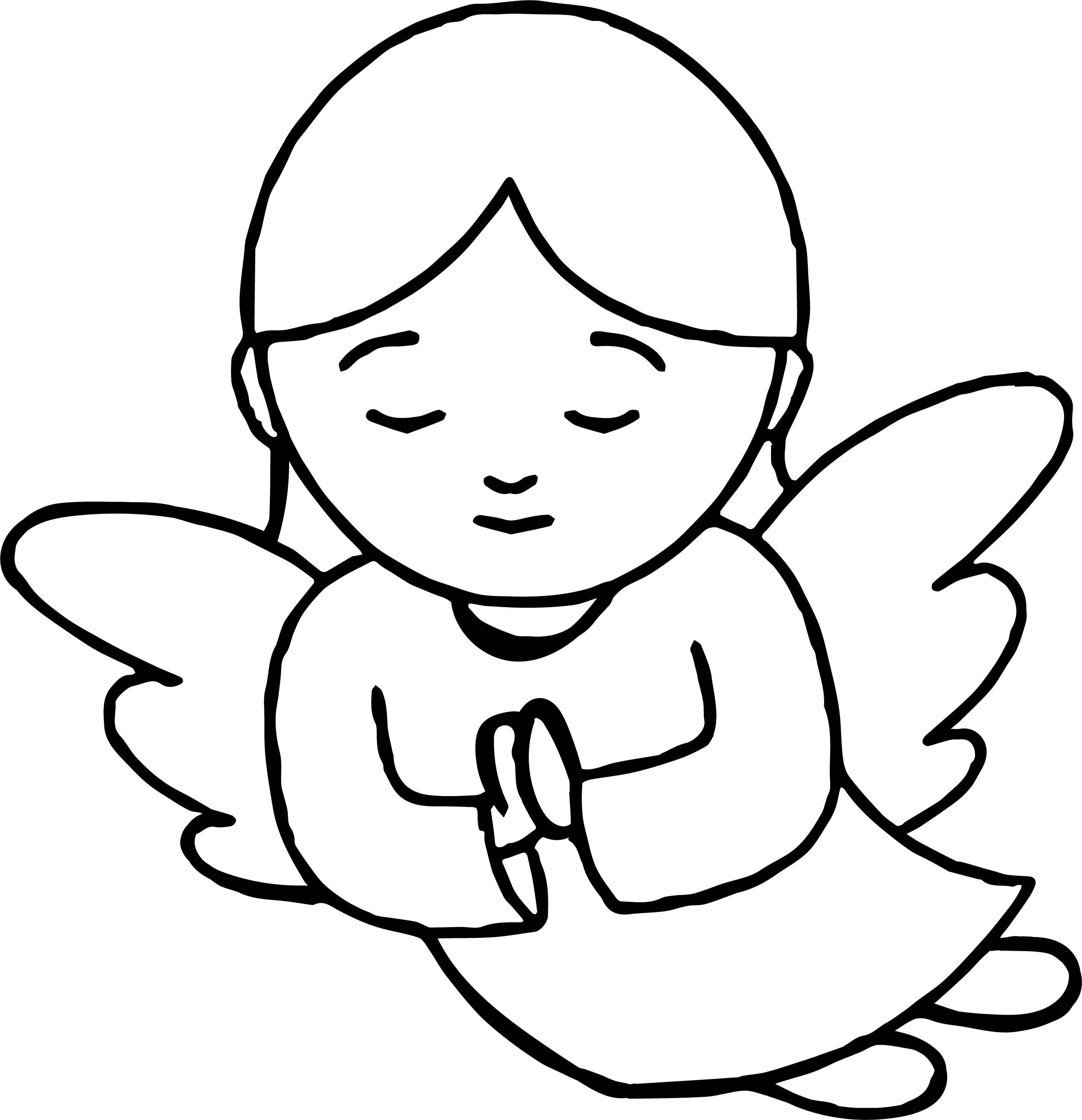 Cool Angel With Halo Praying Coloring Page