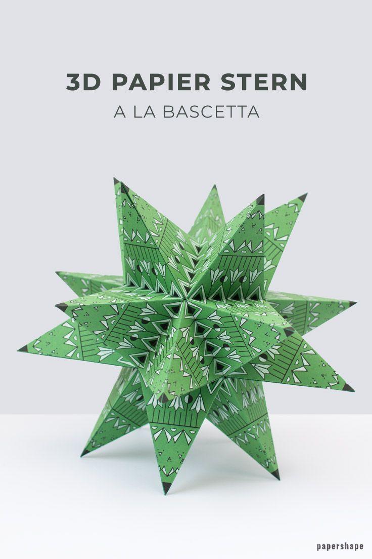 Riesen 3d Stern falten a la Bascetta ohne Zusammenstecken (mit kostenloser Vorlage) #3dsterneauspapier