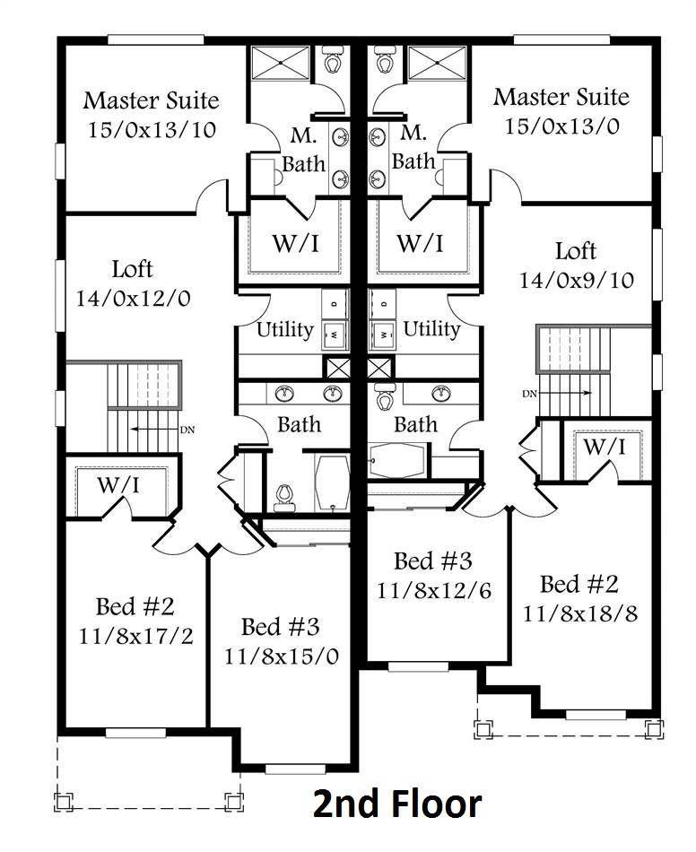 2nd Floor Plan Duplex Floor Plans Duplex House Plans Floor Plans