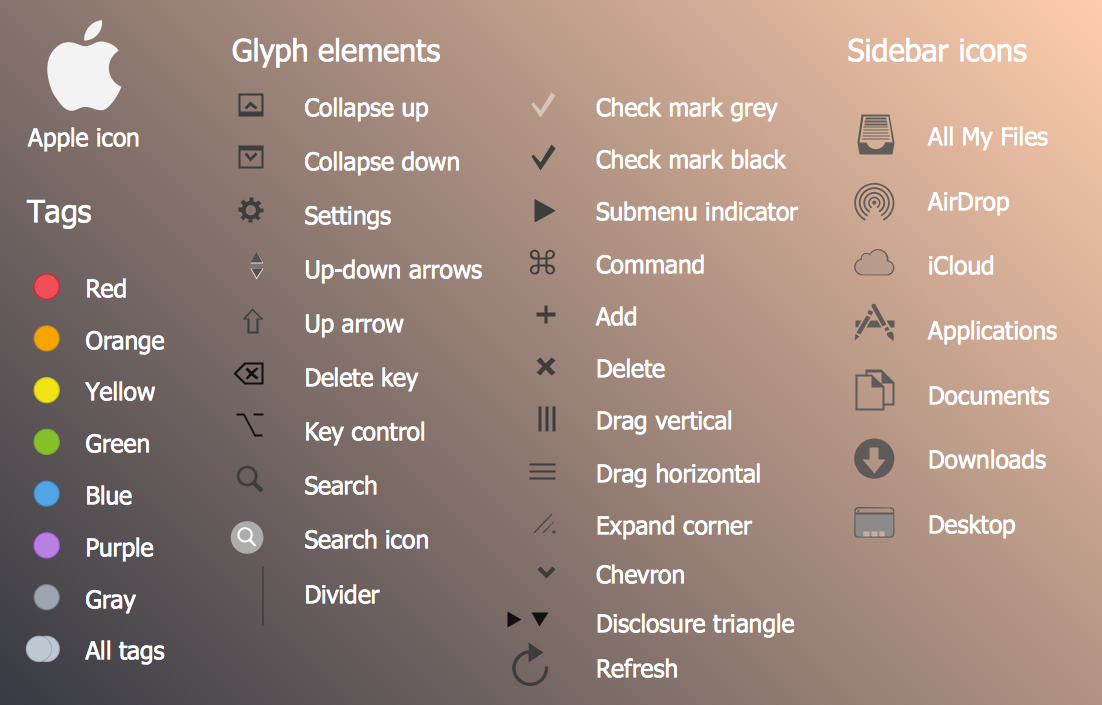 Mac OS X User Interface Design — Glyph Elements User