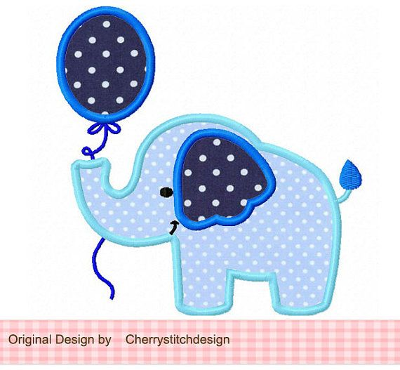Elephant with balloon,Cute elephant applique,birthday design for baby boys and girls -4x4 5x5 6x6 inch- Machine Embroidery Applique Design #elephantitems