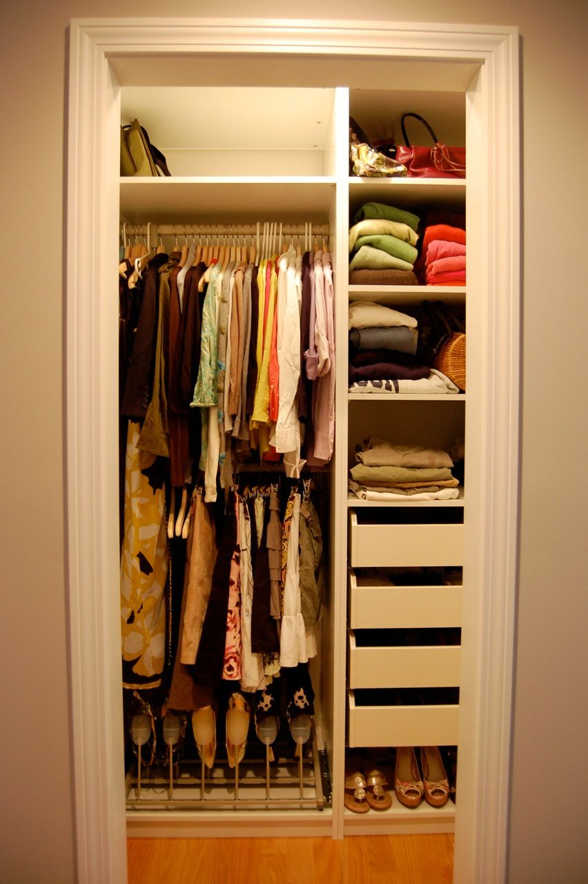 Fancy Small Closet Organization Ideas Beige Wall Paint Closet