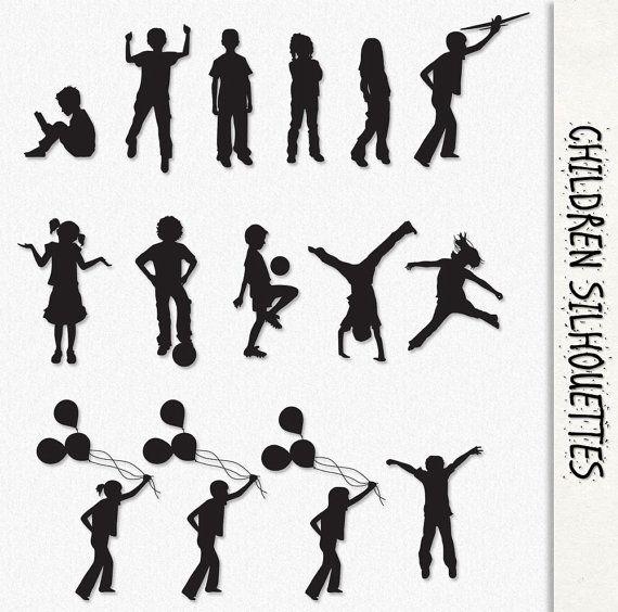 Children Clip Art Kids Silhouette Graphics Clipart Scrapbook Digital Download Playing Girls Boys Balloon Tran Kids Silhouette Silhouette People Silhouette Free