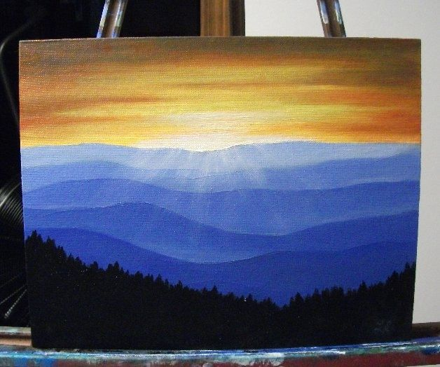 Painting Of Great Smokey Mountains Sunrise In The Smokey