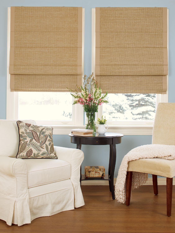 Woven Cane Paper Thermal Room Darkening Cordless Roman Shade Cordless Roman Shades Country Curtains Roman Shades