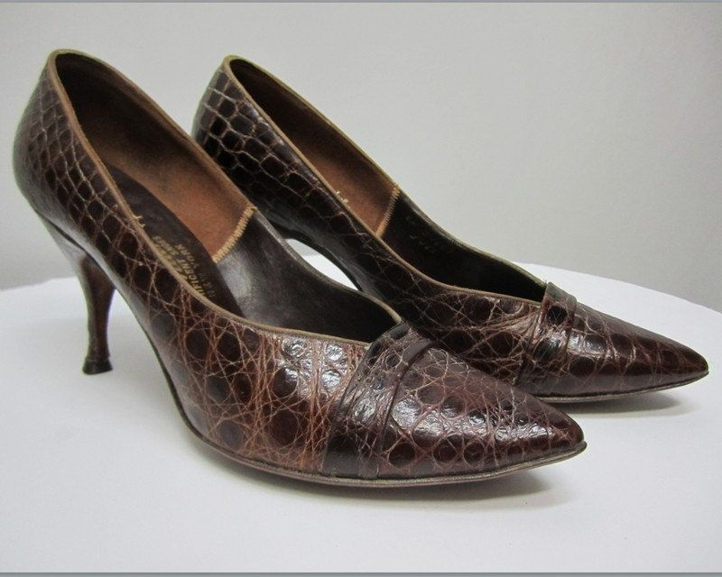 Vintage 50s Shoes, Alligator Textured 50s Shoes, Mid Century Shoes by RosasVintageFinds on Etsy