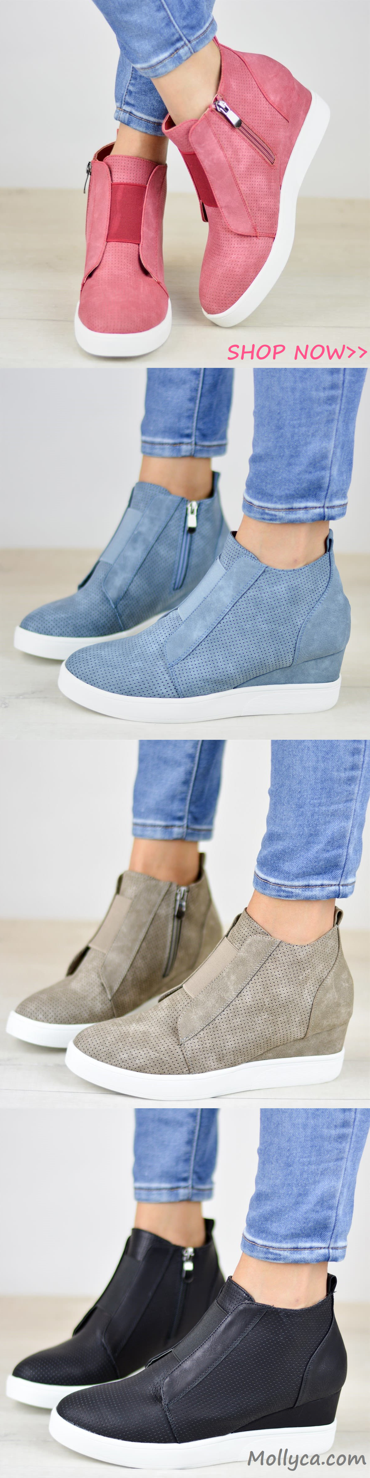9b0eb1a9edda Free Shipping Comfort Zipper Wedge Sneakers Plus Size Wedges with Side  Zipper