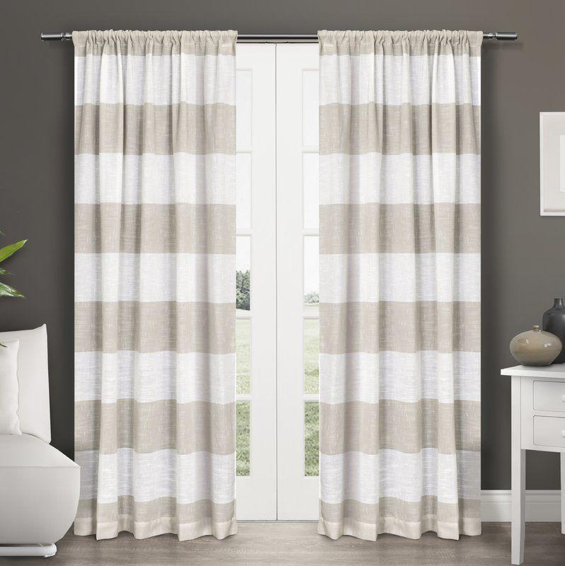 Plant City Striped Sheer Rod Pocket Curtain Panels Home Curtains Striped Curtains Curtains