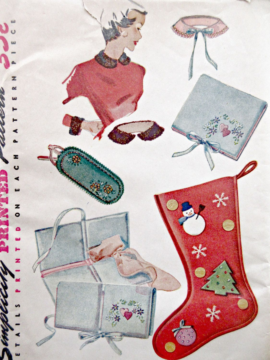 Vintage Simplicity 4519 Sewing Pattern, Collars and Cuffs, Christmas ...