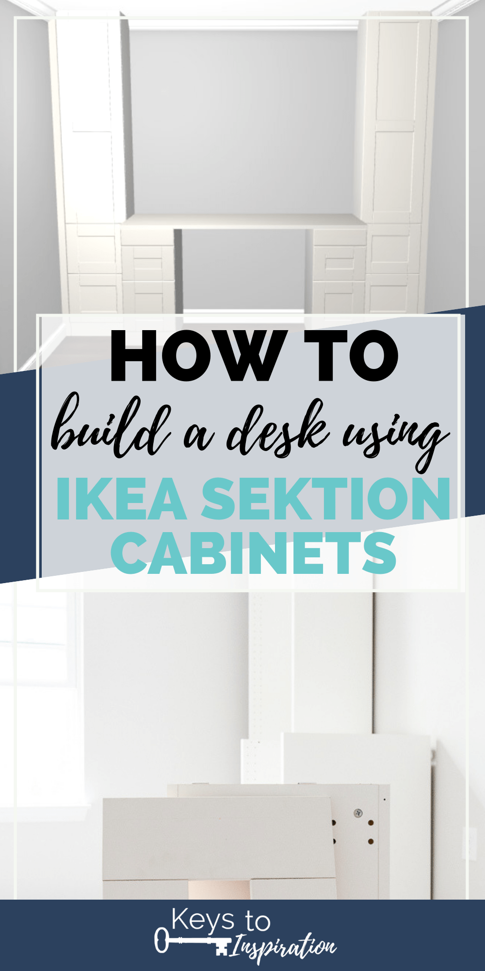 How To Build A Desk Using Ikea Sektion Cabinets One Room Challenge Week 2 Christene Holder Ikea Built In Ikea Sektion Cabinets Built In Desk