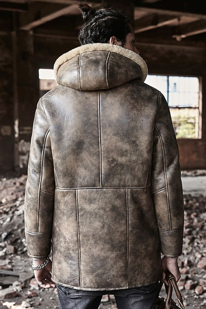 2019 New Mens Long Leather Jacket Hooded Fur Coat Thick