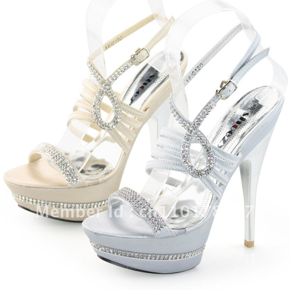 SHOEZY Womens Silver and Champagne Gold Strappy Diamante Platform ...