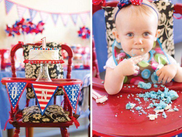Patriotic Pinwheels July 4th First Birthday Cake