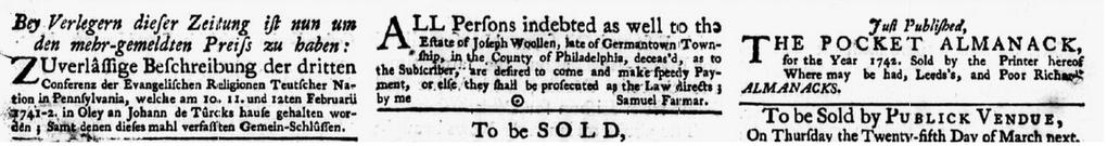 Newspaper Ads Published In The Pennsylvania Gazette Philadelphia Pennsylvania 3 March 1742 Read More On The Gene Historical Newspaper Newspapers Genealogy