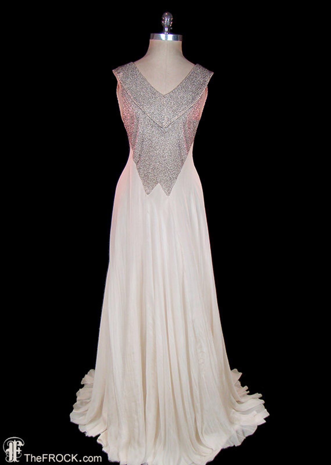 1930s art deco wedding evening dress beaded silk gown