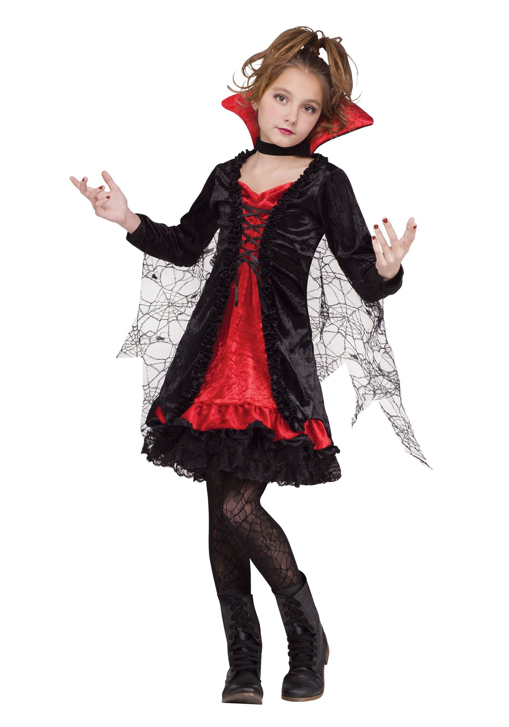 DELUXE VAMPIRESS FANCY DRESS COSTUME GIRLS CHILD/'S HALLOWEEN VAMPIRE