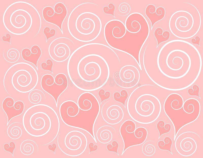 Light Pink Hearts Swirls Background A Background Pattern