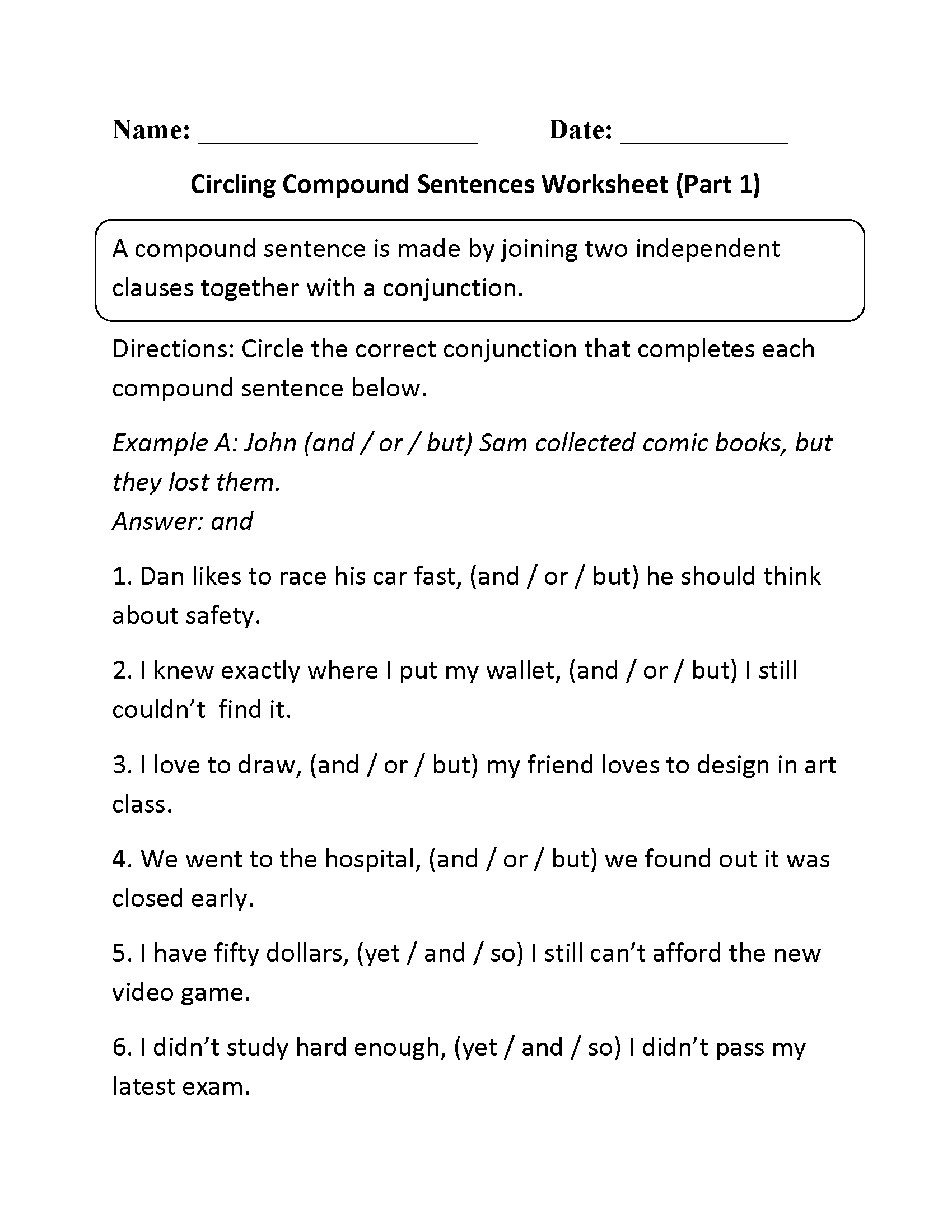 worksheet Compound And Complex Sentence Worksheets circling compound sentences worksheet part 1 madison english lit 1