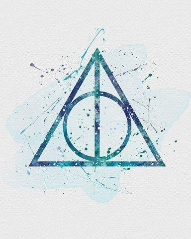 Les Reliques De La Mort Harry Potter Watercolor Harry Potter Art Deathly Hallows