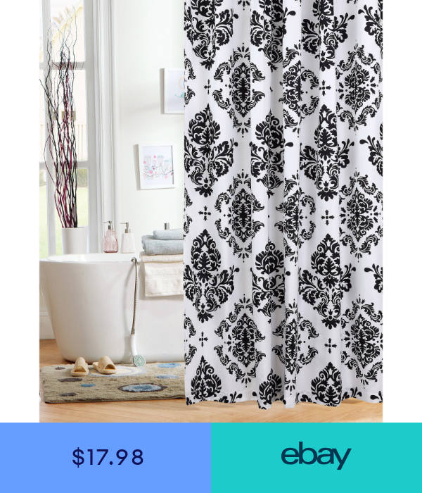 Damask Elites Elegant Rich Black And White Shower Curtain Fabric
