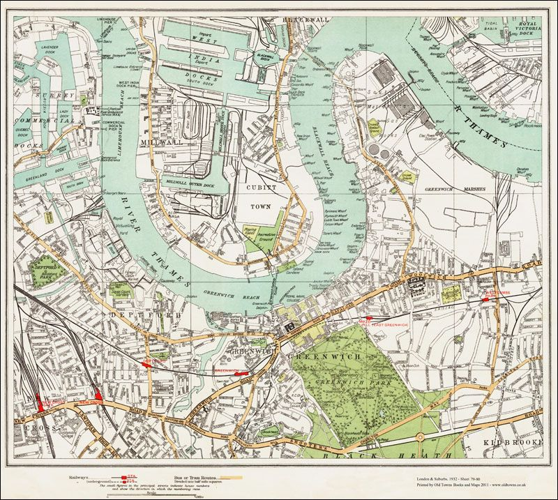 Download Map London.An Old Map Of The Millwall Deptford Greenwich Area London In 1932