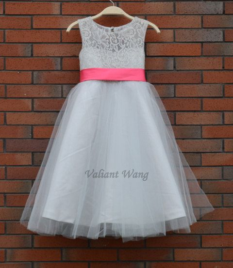 Hey i found this really awesome etsy listing at httpsetsy hey i found this really awesome etsy listing at httpsetsylisting189989975grey lace flower girl dress pink sash mightylinksfo