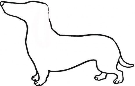 Dog Cake Templates Dachshund Outline Coloring Page Super