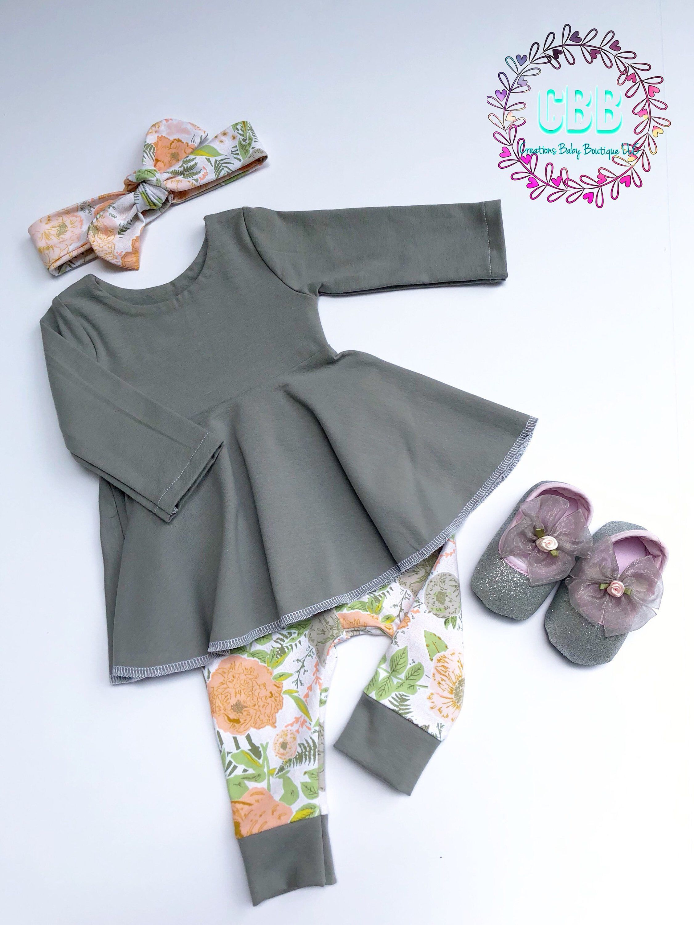 Baby girl clothes baby girl dress outfit leggings and headband