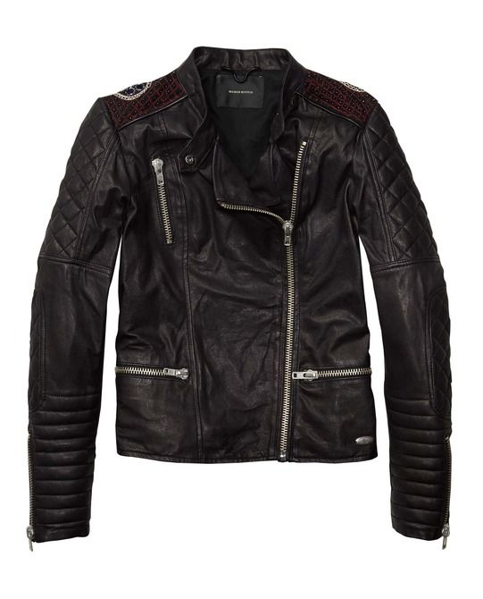 Yesh please. Leather Biker With Special Embellished Back - Scotch & Soda