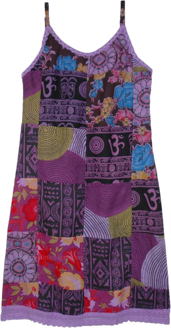 True Hippie Cotton Patchwork Sleeveless Dress in P