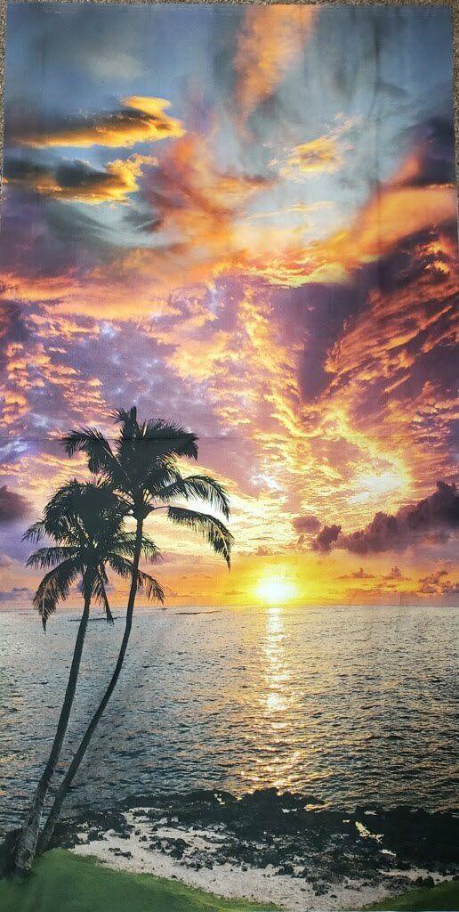 Ocean Beach Sunset Fabric Panel / Coastal Scenery Fabric Panel / Quilt Panel Ocean Palm Tree Fabric Panel 23 x 44 Quilt Panel / Hoffman #scenery