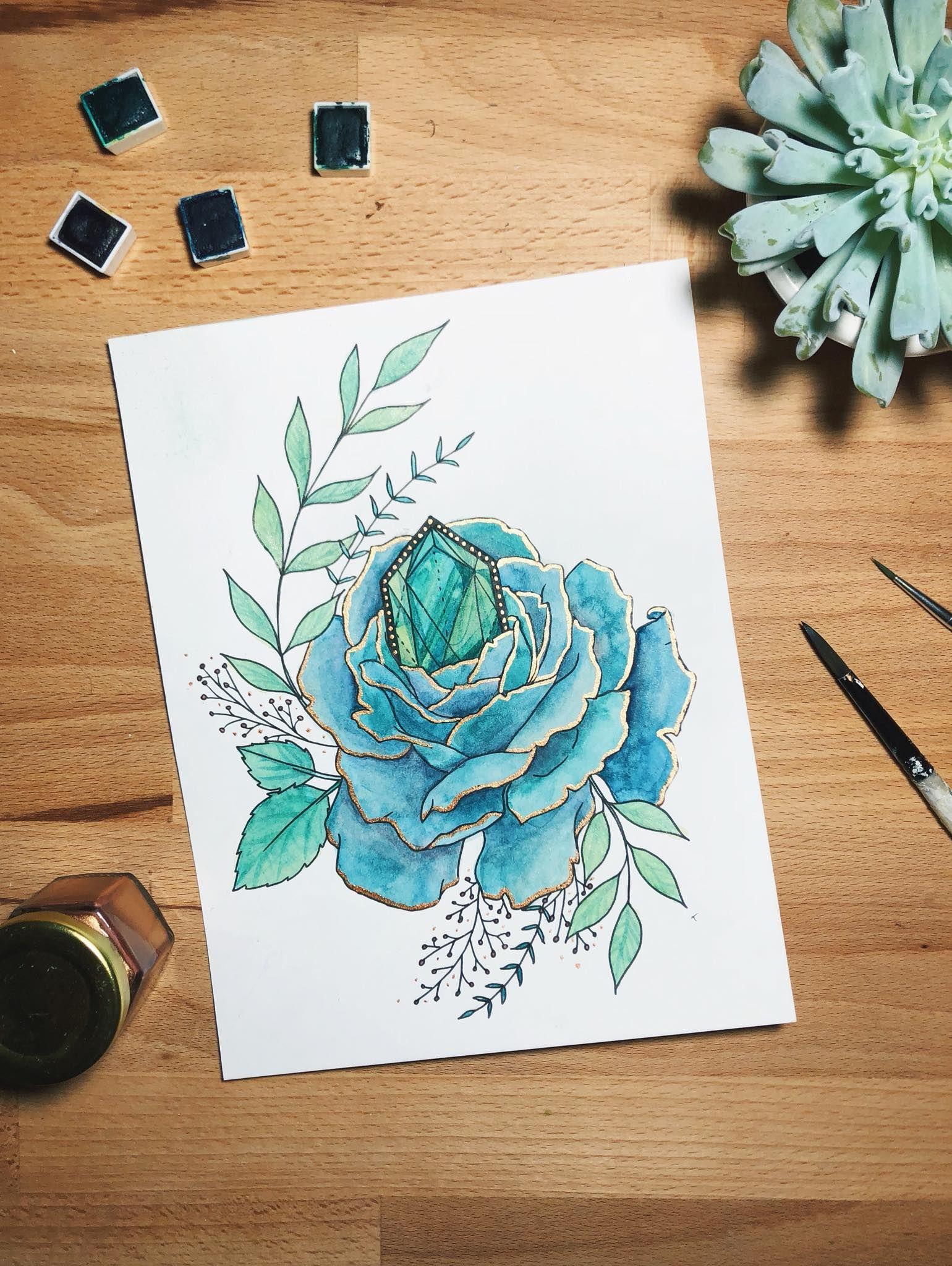 Rose Peony Illustration Succulent Art Watercolor Gold Foil Copper Foil Floral Flowers Florals Ta Peony Illustration Flower Drawing Mint Green Flowers