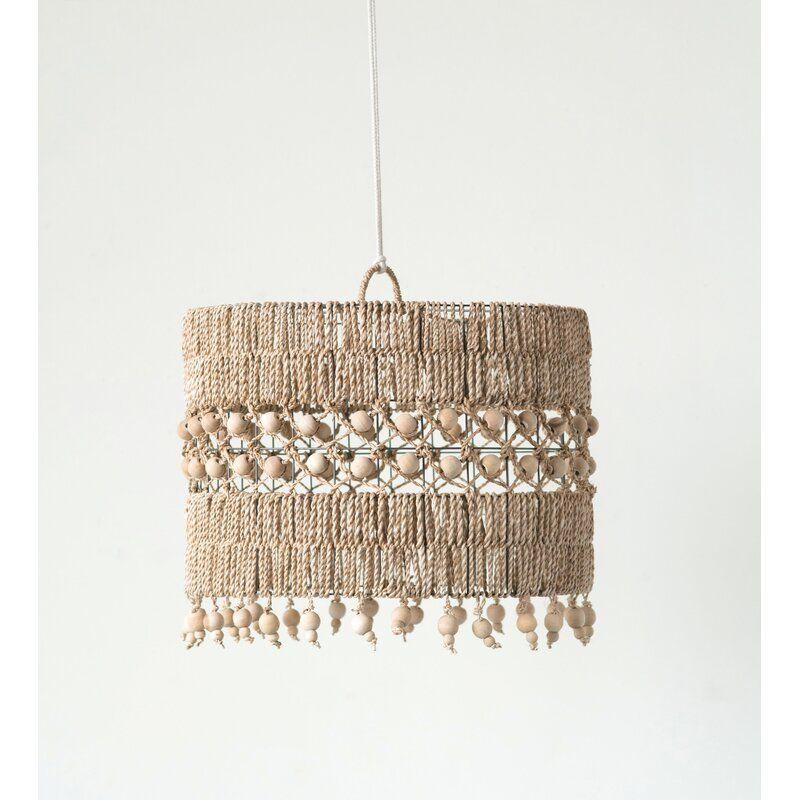 Bungalow Rose Woven Abaca Metal 17 Bamboo Rattan Drum Pendant Shade Wayfair Boho Lamp Drum Lampshade Rattan Lamp