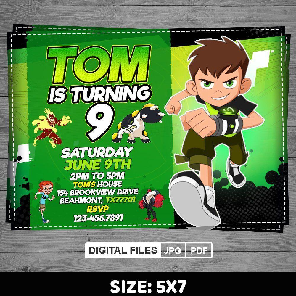 Ben 10 Invitation Ben 10 Birthday Invite Ben 10 Printables Etsy Ben 10 Birthday Ben 10 Birthday Party Ben 10 Party