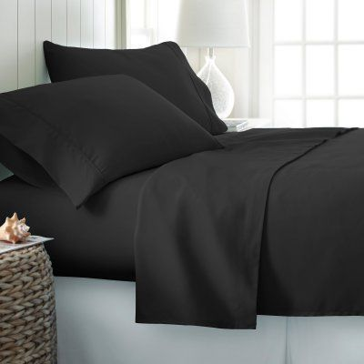 Simply Soft Bed Sheet Set By Ienjoy Home Black   SS 6PC TWIN