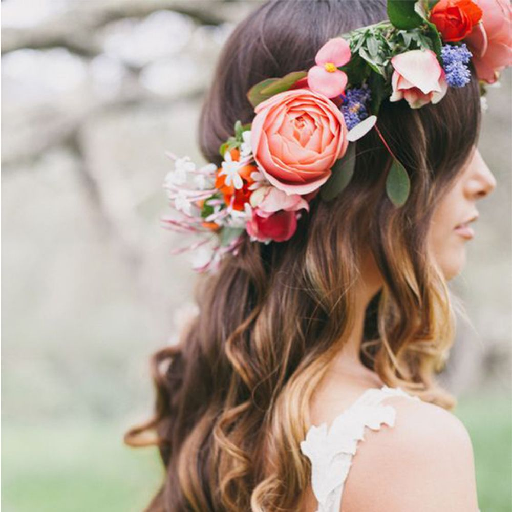 Women Bohemia Handmade Flower Crown Hairband Garland Wedding
