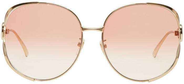 28c20493dbdc7 Gold and Pink Oversized Urban Fork Sunglasses  gradient Pink pads ...