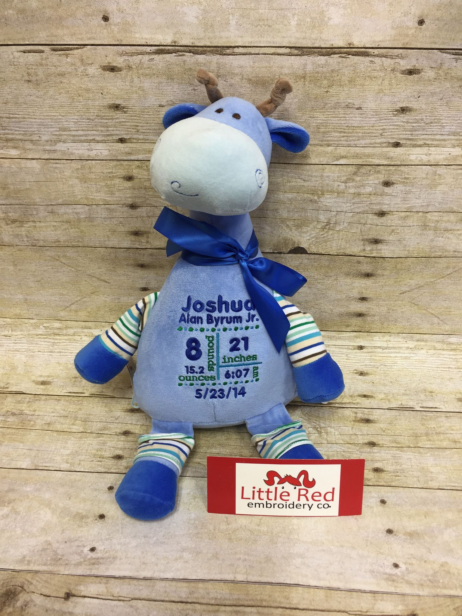 Cubbies™ Pastel Collection Blue Giraffe Stuffie With Custom Embroidery