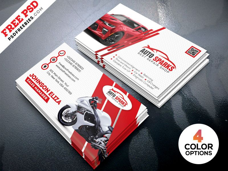 Auto Repair Business Card Template PSD By Freebies
