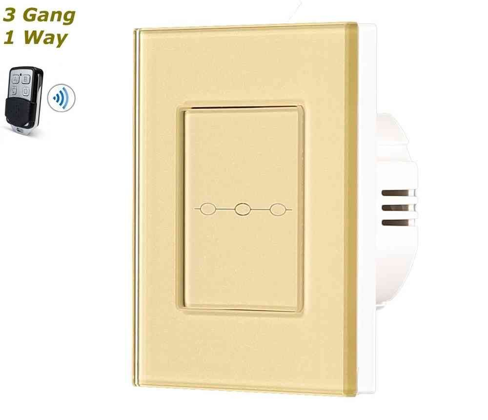 Gold Glass Frame Remote Control Touch Panel Light Switch On/Off 3 Gang 1 Way #touchpanel