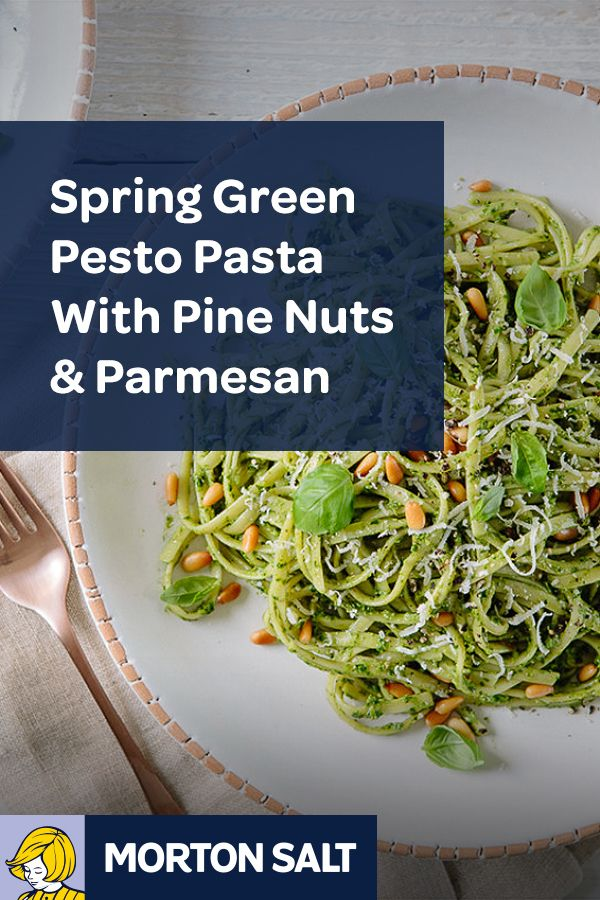 Spring Green Pesto Pasta with Pine Nuts and Parmesan // An