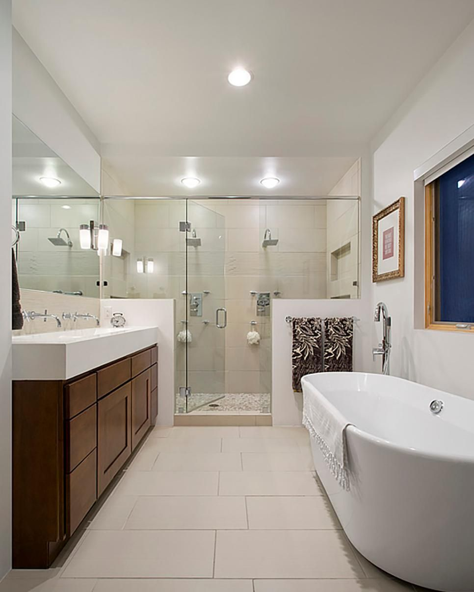 Modern White Master Bathroom With Large Glass And Tile Shower And Freestanding Tub Modern Master Bathroom Bathroom Layout Rustic Bathroom Shelves