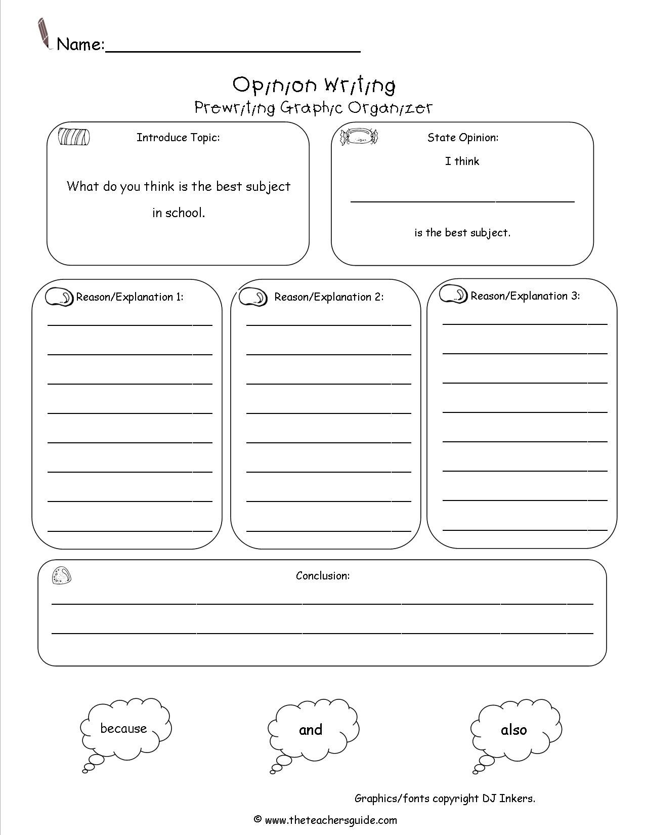 Free Writing And Language Arts From The Teacher S Guide Opinion Writing Graphic Organizer Opinion Writing Writing Graphic Organizers