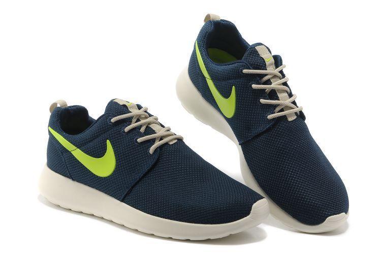 Nike Roshe Run Womens Dark Blue Fluorescence Green Mesh Shoes