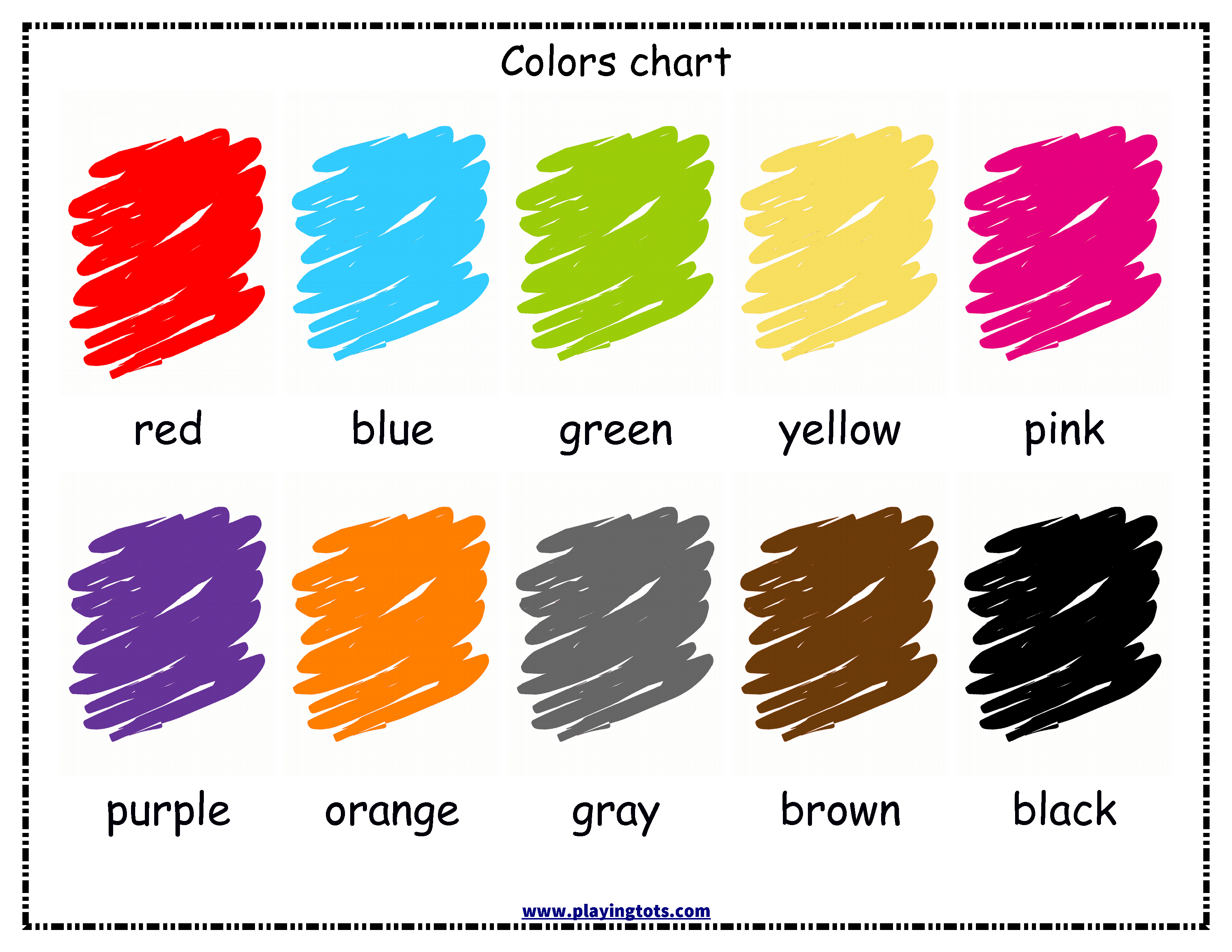 free printable colors chart for your toddler keywords: free
