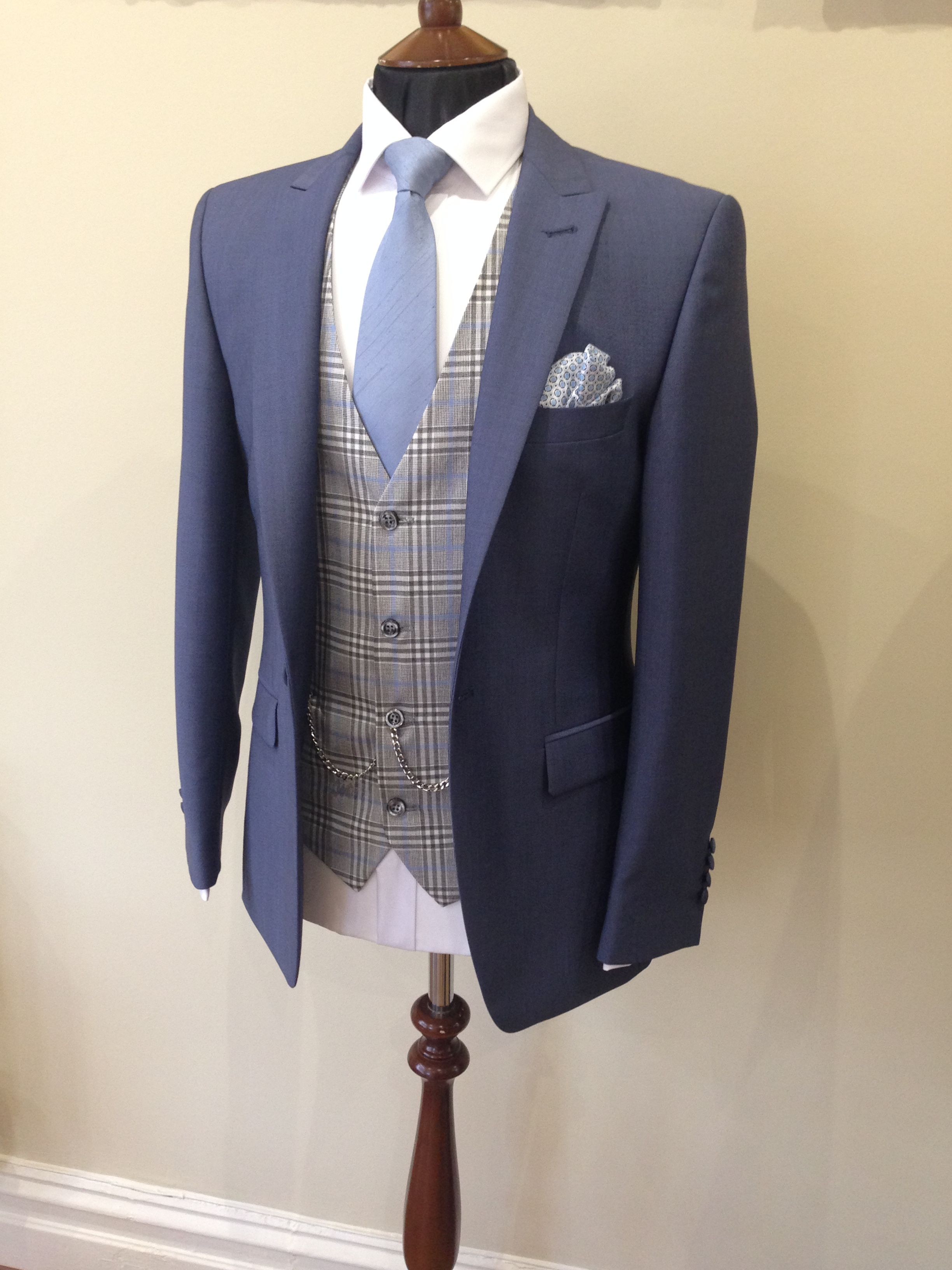Airforce blue lounge suit blue check waistcoat wedding
